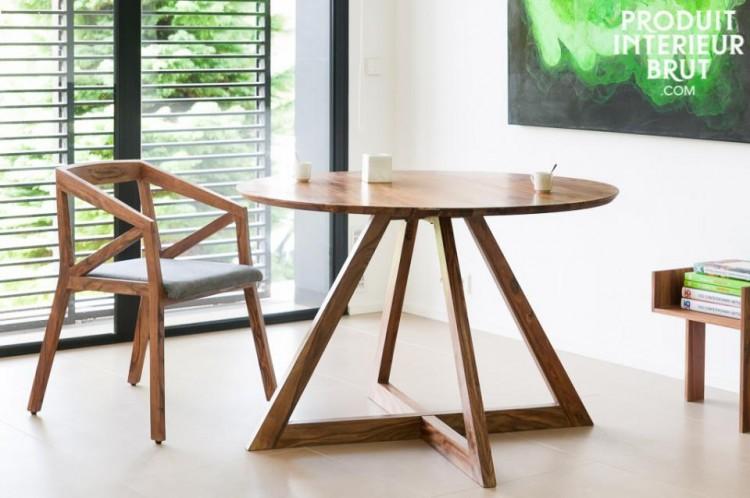 Table ronde en bois de rose massif (5-6 personnes) ultra design – Produit Intérieur Brut